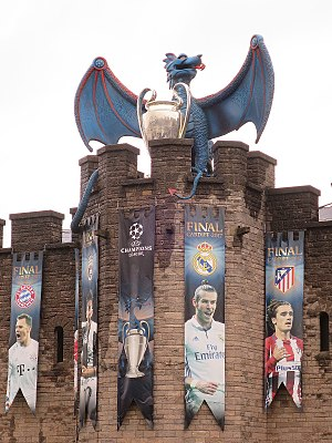 2017 UEFA Champions League Final - The dragon logo on Cardiff Castle