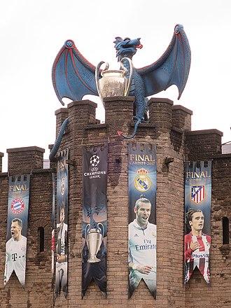 2017 UEFA Champions League Final - The dragon logo on Cardiff Castle