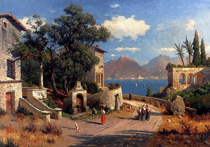 Datei:Carl Gustav Rodde – Italienisches Dorf am See 1892.jpg
