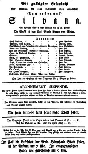 Silvana (opera) - Playbill of the premiere, Nationaltheater Frankfurt