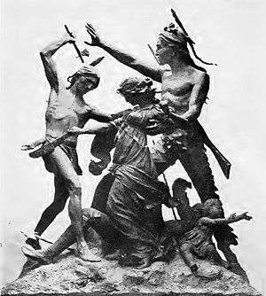 George Ronan - Stylized massacre scene (1893), with Ronan's body at foot of sculptural group