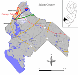 Map of Carneys Point in Salem County. Inset: Location of Salem County in New Jersey.