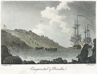 Battle of Fishguard - French forces landing at Carregwastad on 22 February 1797. From a lithograph first published in May 1797 and later coloured