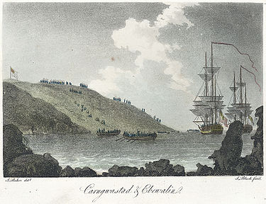 A small French force tried to invade Britain in February 1797. This contemporary image shows troops landing near Fishguard in Wales. The troops were later forced to surrender. Carngwasted & Ebewalin.jpeg
