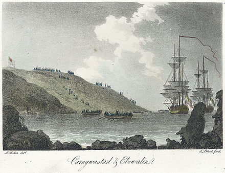 French forces landing at Carregwastad on 22 February 1797. From a lithograph first published in May 1797 and later coloured Carngwasted & Ebewalin.jpeg