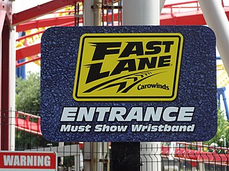 Fast Lane (Cedar Fair) - Fast Lane sign at Carowinds