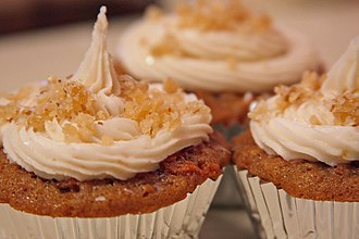 Carrot cake - Carrot cake cupcakes with candied ginger icing