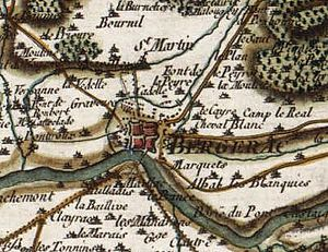 Battle of Bergerac - 18th. Century map showing Bergerac within its defences, the bridge and suburbs south of the Dordogne