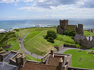 Dover Castle - The view down from the (possibly Saxon) burgh, and Harbour beyond.