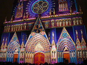 Second Council of Lyon - Cathedral of St John, Lyon, illuminated for a festival