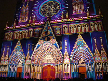 Cathedral of St John, Lyon, illuminated for a festival Cath. St Jean (3).JPG