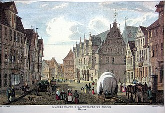 Celle - Steel engraving of the market place around 1845