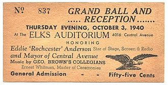 "Eddie ""Rochester"" Anderson - Ticket for Elks' Club reception for Anderson as Mayor of Central Avenue, 1940"
