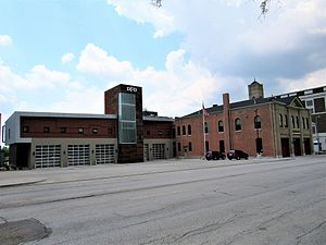 Central Fire Station (Davenport, Iowa) - The 2016 building on the left and the 1902 building on the right.