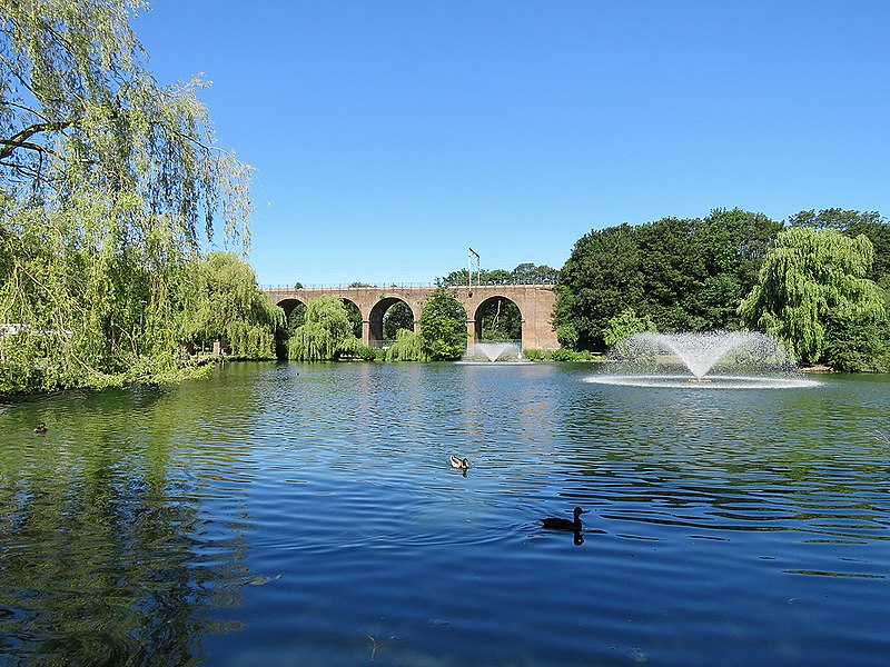 Central Park, Chelmsford; TL7006, viaduct, ducks and fountains