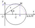 Cercle passant par O - équation polaire.png
