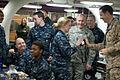 Chairman of the Joint Chiefs of Staff Gen. Martin E. Dempsey, second from right, talks with the crew of the aircraft carrier USS John C. Stennis (CVN 74) as the ship operates in the Persian Gulf on Dec 121213-D-VO565-027.jpg