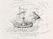 Schlemihl reist zum Nordpol (Karikatur E.T.A.Hoffmanns auf die Forschungsreise Chamissos 1816) (Quelle: Wikimedia)