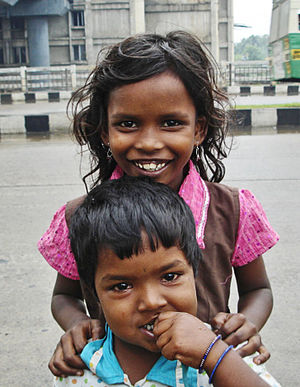 Devi and Arul, two street children. Thiruvanmi...