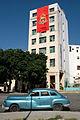 Chevrolet classic car and OPJM building (Havana, Jan 2014).jpg