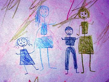 English: A child's drawing of four people.