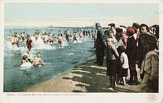 Swimming - Children's bathing beach, Lincoln Park, Chicago, Illinois, 1905