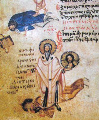 Nikephoros I of Constantinople - Nikephoros I of Constantinople trampling on John VII of Constantinople. Miniature from Chludov Psalter.