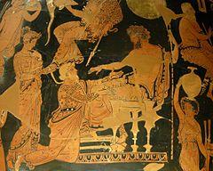 Chrys�s offrant � Agamemnon une ran�on pour Chrys�is, crat�re apulien � figures rouges du Peintre d'Ath�nes 1714, v.360�350 av. J.-C., mus�e du Louvre