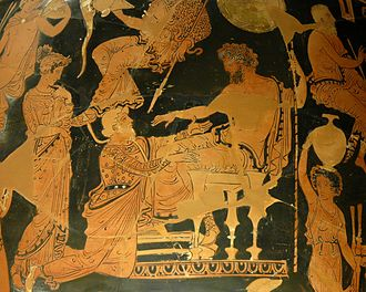 Chryses - Chryses attempting to ransom his daughter Chryseis from Agamemnon, Apulian red-figure crater by the Athens 1714 Painter, ca. 360 BC–350 BC, Louvre.