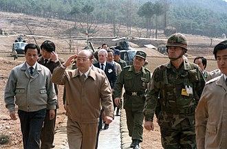 Chun Doo-hwan - Chun with U.S. Major General Claude M. Kicklighter in March 1985