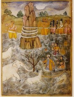 Samudra manthan episode of Hindu mythology narrated in the Bhagavata Purana, Mahabharata and Vishnu Purana, explaining the origin of amrita, the nectar of immortality