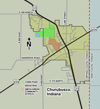 Churubusco, Indiana - Image: Churubusco map