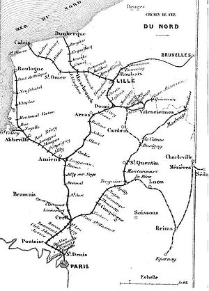 Chemins de Fer du Nord - The Nord network in 1853