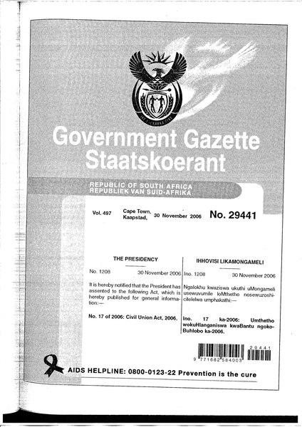 File:Civil Union Act 2006 from Government Gazette.djvu