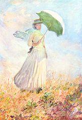 Femme à l'ombrelle tournée vers la droite