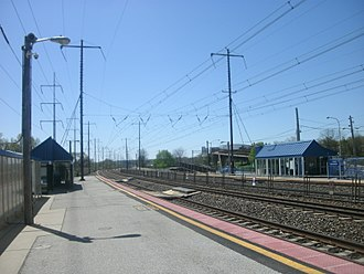 Claymont station - Claymont station in April 2012, facing south