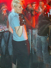 Client B at a club gig in 2005