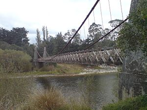 Clifden Suspension Bridge - The bridge looking southwest over the Waiau River.
