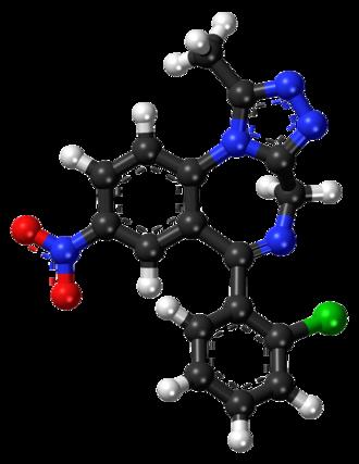 Clonazolam - Image: Clonazolam ball and stick model
