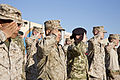 Coalition forces with Regional Command (Southwest) salute during a flag-raising ceremony at Camp Leatherneck in Helmand province, Afghanistan, Nov. 11, 2013 131111-M-ZE445-019.jpg