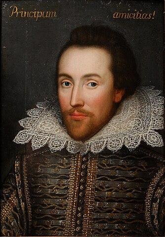 Недавно обнаруженный в семейной коллекции портрет елизаветинца (1610). Некоторые искусствоведы утверждают, что это единственный прижизненный портрет Уильяма Шекспира.