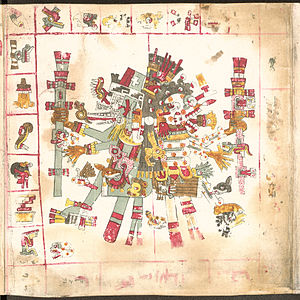 Aztec creator gods - Quetzalcoatl (left), god of wisdom in the Codex Borgia.