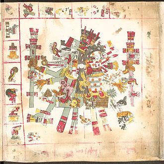 Aztec creator gods - Quetzalcoatl (left), god of wisdom in the Codex Borgia.