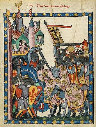 Reichsvogt - Count Wernher von Homberg-Rapperswil, Reichsvogt of the Waldstätte from 1309 to 1320, Codex Manesse folio 43v.