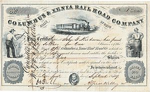 Columbus and Xenia Railroad - Image: Columbus & Xenia RR 1849