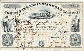 Columbus and Xenia Railroad - Share of the Columbus and Xenia Railroad Company issued September 1, 1849