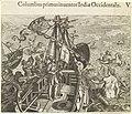 Columbus aan dek van zijn schip op weg naar Amerika Columbus primus inuentor Indiae Occidentalis (titel op object) India occidentalis IV (serietitel), RP-P-BI-5273.jpg