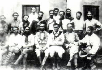 Coluna Prestes - Commanders of the Coluna. Luís Carlos Prestes is seated third from left.