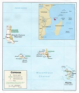Comoro Islands archipelago in the Indian Ocean