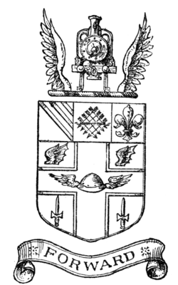 Fig. 555.—Arms of the Great Central Railway: Argent, on a cross gules, voided of the field, between two wings in chief sable and as many daggers erect in base of the second, in the fess point a morion winged of the third, on a chief also of the second a pale of the first, thereon eight arrows saltirewise banded also of the third, between on the dexter side three bendlets enhanced and on the sinister a fleur-de-lis or. Crest: on a wreath of the colours, a representation of the front of a locomotive engine proper, between two wings or. [The grant is dated February 25, 1898.]